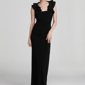 Laundry by Shelli Segal Black Ruffle Gown